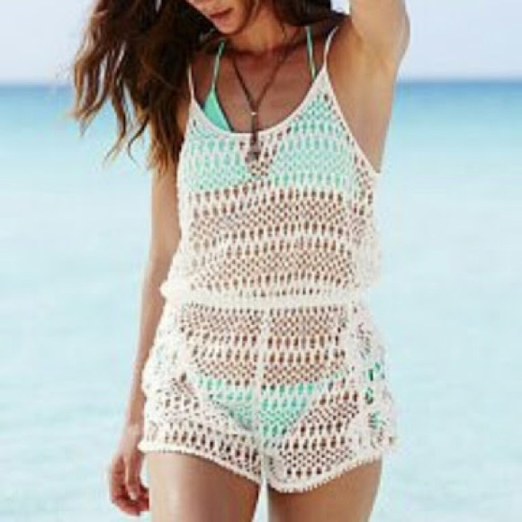 7debbaf13e51e Victoria's Secret Swim | Victorias Secret White Crochet Romper Cover ...